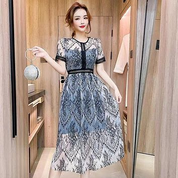 Elegant Sexy Women Vintage Lace short Sleeve O-Neck Femme OL High Waist Casual Slim Party Dresses Robe