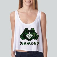 Diamond Weed Mickey Hands girly boxy tank top Funny and Music