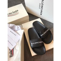 Kuyou Gx19711 Balenciaga Logo Black Slippers For Men And Women