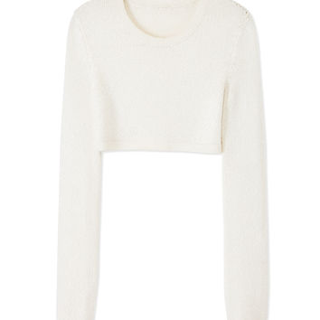 Calvin Klein Collection White Knit Top - Cropped Sweater - ShopBAZAAR