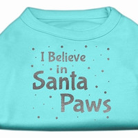 Screenprint Santa Paws Pet Shirt Aqua XXL (18)