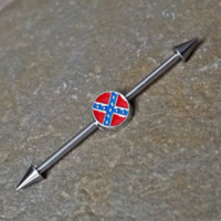 Confederate Flag Industrial Barbell 14ga Surgical Steel Upper Ear Jewelry 14ga