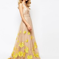 A Star Is Born   A Star Is Born Luxe Plunge Front Full Tulle Prom Maxi Dress With Embellishment at ASOS