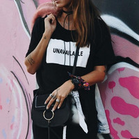 """New Summer fashion women O Neck letter""""unavailable"""" short sleeve T-shirt -006-27"""