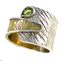 Peridot Sterling Silver Two Tone Adjustable Ring