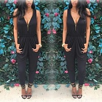 ZIPPERED JUMPSUIT