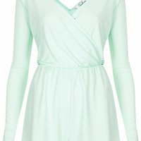 **WRAP FRONT LONG SLEEVE PLAYSUIT BY OH MY LOVE