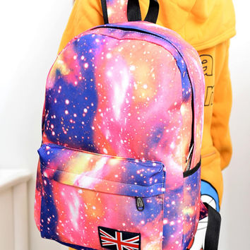 Fashion Unisex Stars Universe Space Printing Backpack School Book Backpacks British-flag FREE SHIPPING
