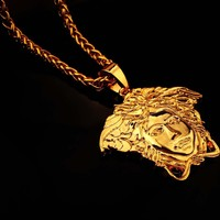 Stylish Shiny Jewelry Gift New Arrival Double Sided Small Size Pendant Gold Club Chain Necklace [6542723971]