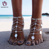 Danze Vintage Bohemian Style Multilayer Sexy Coins Leg Chain Anklet For Women Handmade Silver Color Female Lady Foot Jewelry
