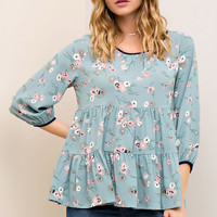 Floral Print Tiered Tunic Top