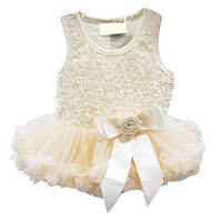 Girl Baby Ivory Rosette Tutu Onesuit Dress