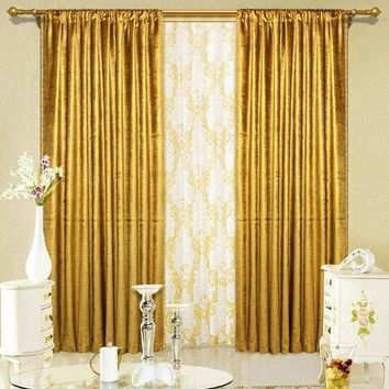 "Gold Velvet Window Theater Curtain Drape 84"" By Maifa Textiles"