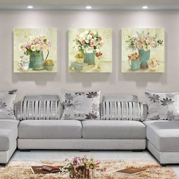 3 Panel Vintage Wall Picture for Living Room Wall Canvas Painting House Decorative Picture Wall Art Canvas Prints Painting