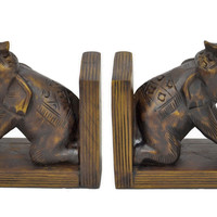 Pair of Elephant Bookends, Brown, Bookends