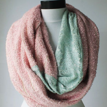 mint-pink winter scarf,infinity scarf, scarf, scarves, long scarf, loop scarf, gift