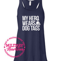 My Hero Wears Dog Tags Racerback Tank top, Army, Air Force, Marines, Navy, Military Wife, Fiance, Girlfriend, Workout