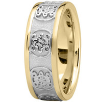 Wedding Band - Engraved Celtic Mens Wedding Band in Two Tone Gold