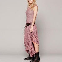 Pink Lace And Mesh Asymmetrical Dress