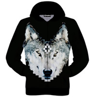 Pixelated Wolf Zip-Up Hoodie