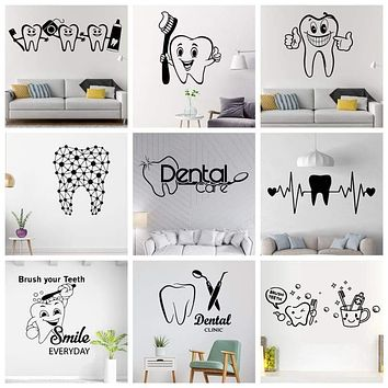 Dentist Tooth Vinyl Wall Stickers Teeth Decals For Living Room Dental Shop Decoration Hospital Dentist Store Wallstickers|Wall Stickers