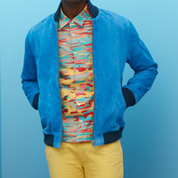 Suede Bomber Jacket - Imperial Blue