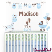 Wall Decal Baby Names Personalized Boy or Girl Birth Announcement Full Color Decal Decor Announcements Nursery Kids Mcol58