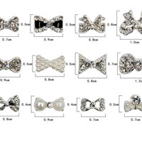 12pcs Nail art, Pearl bow, 3d alloy AB rhinestones, Bow Tie Nail decoration accessories supplies 1 wheel