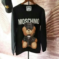 Moschino bear print long sleeve black sweater top H-spring-CLFSGCJDZ