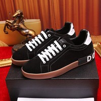 D&G Dolce & Gabbana Men's Suede Leather Fashion Sneakers Shoes
