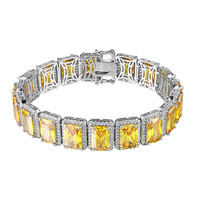 Iced Out Canary Ruby CZ Bracelet Hip Hop Mens Rapper Rick Ross Stylish Bling New