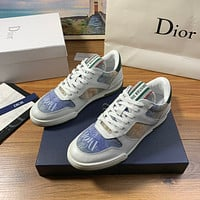Dior Men's And Women's Leather Fashion Low Top Sneakers Shoes