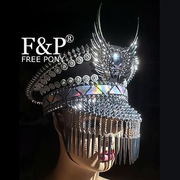 Winged Skull Military Hat with Rivet and Tassels