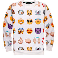 White 100 Emoji Print Long Sleeve Sweater