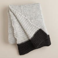 Gray Luxe Knit Throw with Black Border - World Market