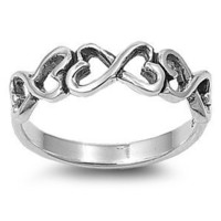 Sterling Silver Infinity Heart Ring (Size 4 - 9) - Size 5