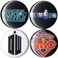 """Set of 4 Doctor Who 1"""" pins/buttons/badges"""