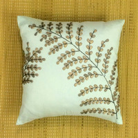 Decorative Throw Pillow Cushion Cover Beads Sequin Pillow Couch Toss Sofa ShamFloral Leaf Design Pillow ALL SIZES & Colors