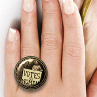 SUFFRAGE Votes for Women Feminism image Hand pressed flat button CABOCHON Antique Brass RING Adustable