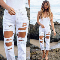 Women's White High Waist Ripped Jeans | Distressed & Destroyed Denim