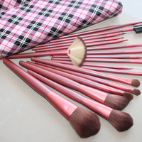18-pcs Pink Plaid Luxury Makeup Brush Sets [9647073743]