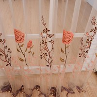 Window Curtain Sheer Panel Door Sheer Beads Floral Voile See Through Tassel Divider Curtains