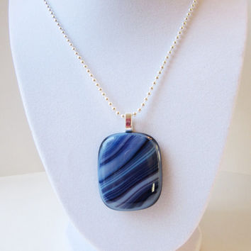 Big Chunky Jewelry, Blue Pendant Necklace, Statement Necklace, Casual Jewelry, Fashion Jewelry, Fused Glass Pendant
