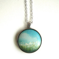 Sweet Charm  - Necklace   -  Hand Painted Pendant -  Summer Meadow in a Sunny Day Necklace, - Small Miniature Painting Jewelry