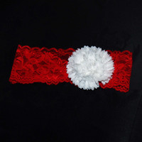 Baby headband- baby lace headband, lace baby headband, Christmas headband, baby Christmas, 1st Christmas outfit, red baby headband