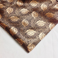 Floral Pattern Black and Gold Brocade Fabric / Banaras Silk Fabric in Black and Gold - Half Yard Silk Fabric