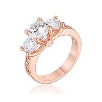 Arrosa - Women's Brass Rose Gold Plated Three Stone CZ Engagement Ring
