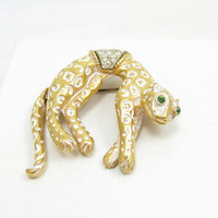 Florenza Cheetah Leopard Brooch White Enamel on Gold Tone Pin Green Rhinestone Eye 1970s Designer Signed Vintage Costume Jewelry