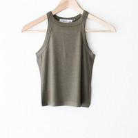 Ribbed Crop Tank Top - Olive