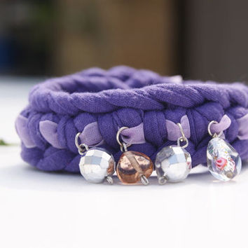 Purple T-Shirt Yarn and Organza Crochet Bracelet. Glass Charms and Beads, Organza Ribbon and Button Cuff.